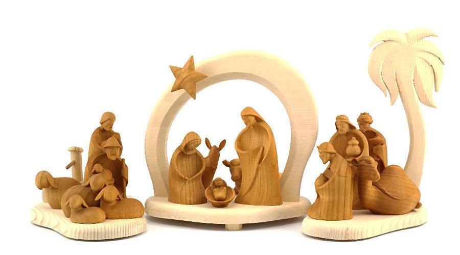 Weihnachtskrippe Modern.Nativity Scene Holzschnitzerei Bachmann